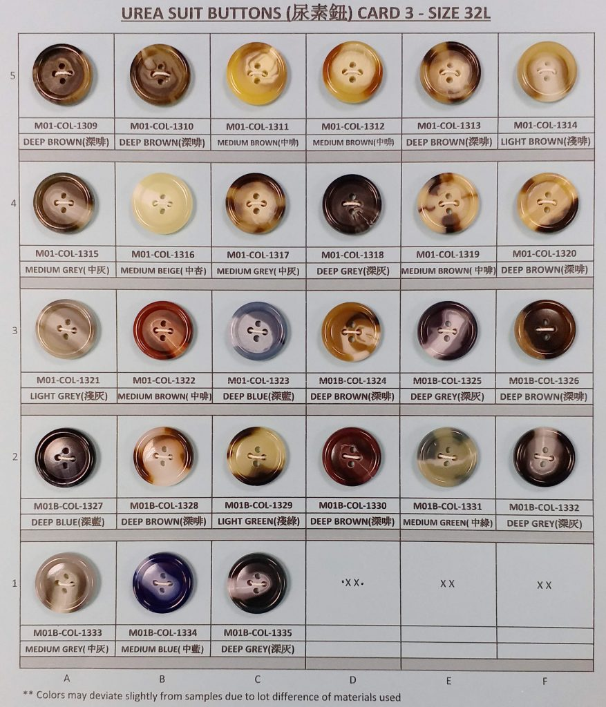33 Colors of Urea Suit Buttons - Card 3