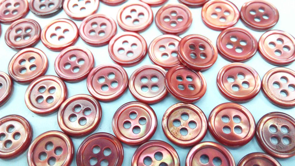 dyed red pearl shirt buttons